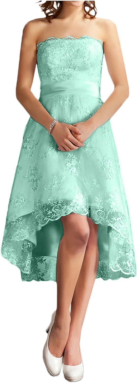 DressyMe Women's Strapless Lace Party Dresses High Low Reception Dress