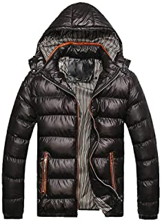 WOCACHI Mens Down Jackets Puffer Coat Detachable Hooded Thicken Outwear Overcoat