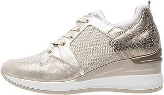 Nero Giardini 07520 Crema Scarpa Donna Sneaker Zeppa Zip Laterale Pelle Made in Italy
