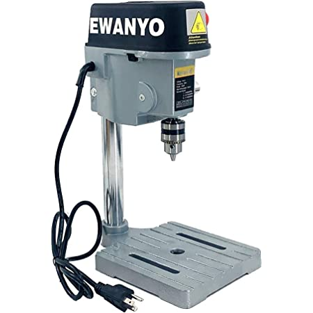 EWANYO 3-Speed Benchtop Drill Press, Electric Bench Wood Drilling Machine for DIY Creation, Small and Precise Work Like Jewelry Making Woodworking Metal Drilling Machine 110V