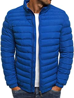 Men's Jacket Long Sleeve Bomber Jacket Stand-Up Collar Hood Quilted Jacket Hooded Light Outdoor Puffer Cardigan Padded Aut...