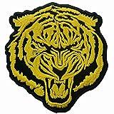 Toppa ricamata da applicare con ferro da stiro o cucitura, tema: La tigre d'oro roaring