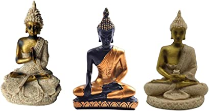Baosity 3Pcs The Hue Resin Meditation Buddha Statue Sculpture Hand Painted Figurine