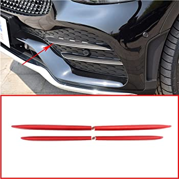 Silver YIWANG ABS Chrome Car Front Fog Lamp Strips Trim Sticker 4Pcs for Mercedes Benz C Class W205 S205 C180 C260 C300 2019 2020