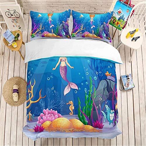 MENGBB Duvet Cover Set 3D Effect Cartoon sea seahorse 135x200cm Total 4 Size, give away pillowcase, Duvet Cover single bed with 2 Pillow Cases 50x75cm Microfiber Bedding Quilt Cover Set with Zipper C