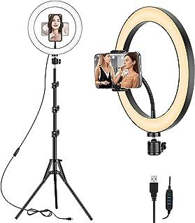 Nyaste 30,48 cm LED-ringfyllningslampa med justerbart runt stativ och telefonhållare USB selfie skrivbord makeup-ringlamp...