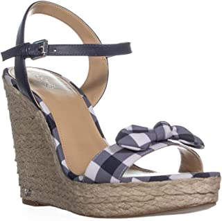 Womens Pippa Gingham Ankle Strap Wedge Sandals