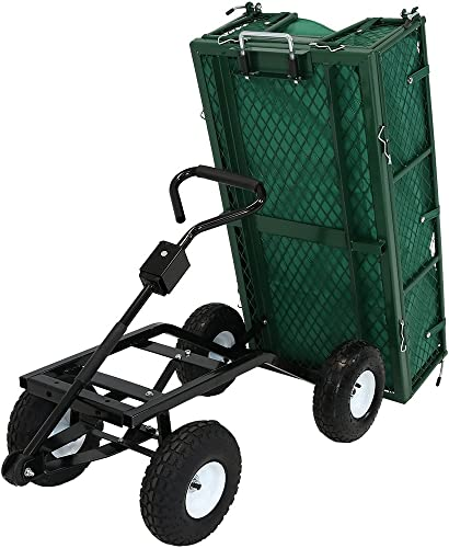 discount Sunnydaze Utility Steel Dump Garden Cart with Liner high quality Set, Outdoor Lawn Wagon online sale with Removable Sides, Heavy-Duty 660 Pound Capacity, Green outlet online sale