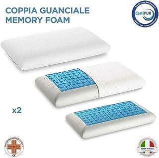 The White Stone - Par de almohadas de espuma viscoelástica desenfundables, ergonómicas y transpirables, almohadas de espuma viscoelástica, modelo jabón, hipoalergénicas y antiácaros