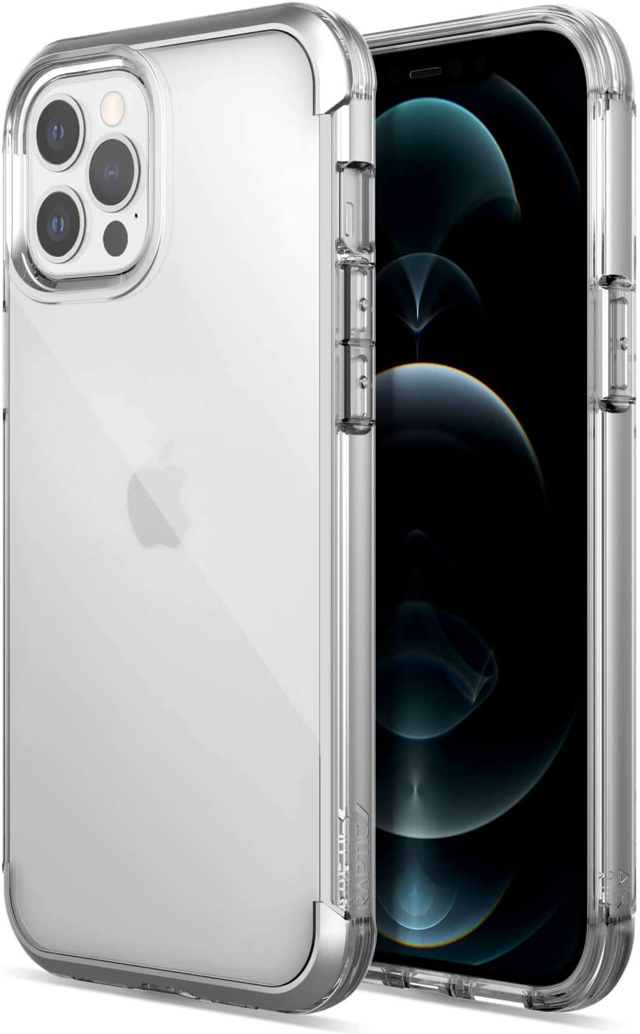 Raptic Air Case Compatible with iPhone 12 Case & iPhone 12 Pro Case, Scratch Resistant, Aluminum Metal Bumper, Wireless Charging, 13ft Drop Protection, Fits iPhone 12 & iPhone 12 Pro, Clear