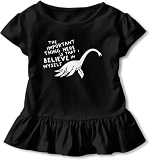 Loch Ness Monster Child Girls Short Sleeve T-Shirts Printed Dress