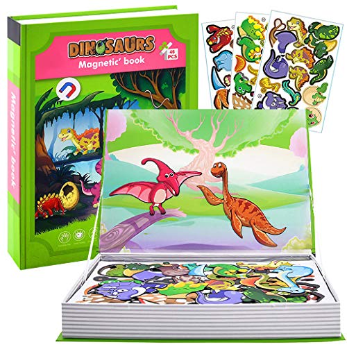 Wenosda Giochi Magnetici di Puzzle del Dinosauro del Libro Set di Puzzle Fai da Te Giocattoli Educativi per Puzzle con Adesivi Magnetici e Carta a Doppia Faccia per Bambini (16 Diversi Dinosauri)