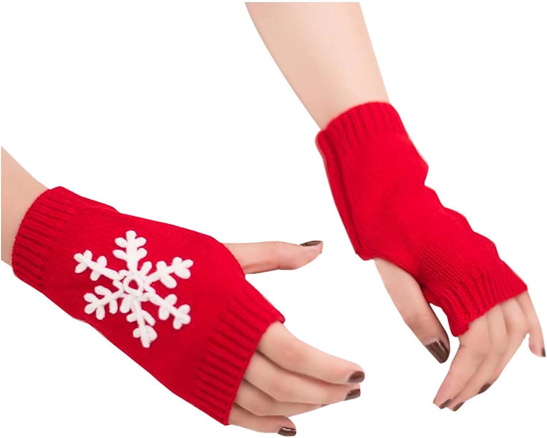 Mitones para Calentadores de Brazo con Agujero para el Pulgar Guantes sin Dedos de Punto C/álido de Invierno para Mujer