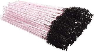 300 Pack Mascara Wands Disposable Bulk Eyelash Extension Tool Lash Brushes Makeup Applicator Kit, Crystal Light Pink Handl...