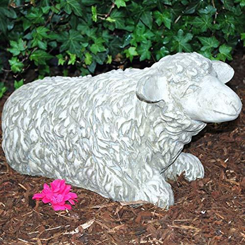 HELO Steinfigur Schaf Sandstein Gartenfigur Statue Deko Steinguss (595)
