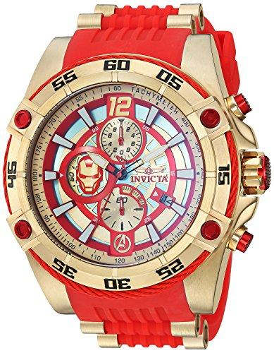 Invicta 26796 Reloj de cuarzo de acero inoxidable con correa de silicona, rojo, 26.25 (Modelo: 26796)
