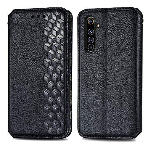 Trugox Handyhülle für Realme X50 Pro 5G Hülle Leder Klapphülle mit Kartenfach Ständer Flip Hülle für Oppo Realme X50 Pro 5G - TRSDA120685 Schwarz