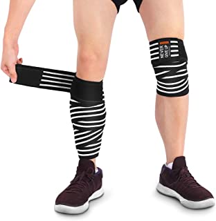 Knee Wraps, Adjustable Knee Support Brace Compression Bandage with High Elasticity Support for Elbow Knee Calf Joints, for Sports Gym Workout Weightlifting Fitness Powerlifting, 1 Pair