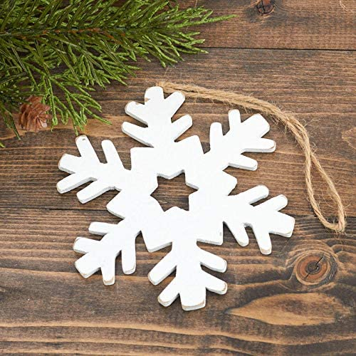 Amazon Com Rustic White Snowflake Christmas Ornaments 12 Pieces Ready To Hang Home Kitchen