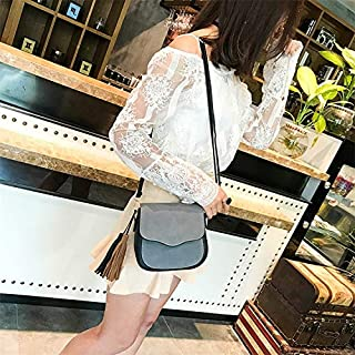 Fashion Single-Shoulder Bags Leisure Fashion PU Leather Slant Shoulder Bag (Black) (Color : Grey)
