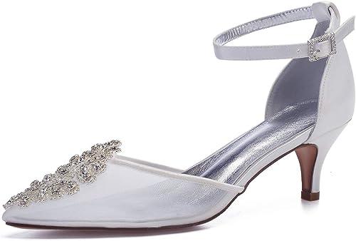 AIMIchaussures Pointu Toe Lady Voir à Travers Mesh Mesh Satin Robe De Soirée Chaussures Ankle Sangle Cristal Applique élégant Mariage De Mariée Talons De Fête  site officiel