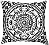 Ahdyr Mandala Círculo Adorno Geométrico Las Artes Tribal Algodón Lino Funda de Almohada Decorativa para el hogar Funda de cojín para sofá Sofá 45x45 cm
