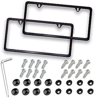 Mushan Car License Plate Frame Kit,1Pair Stainless Plate Frame Hand-Friendly License Plate Cover U.S Standard Universal Fit