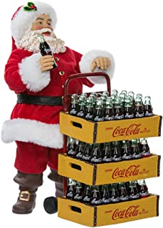 Kurt Adler Coca-Cola Santa with Delivery Cart, 10.5-Inch, Set of 2