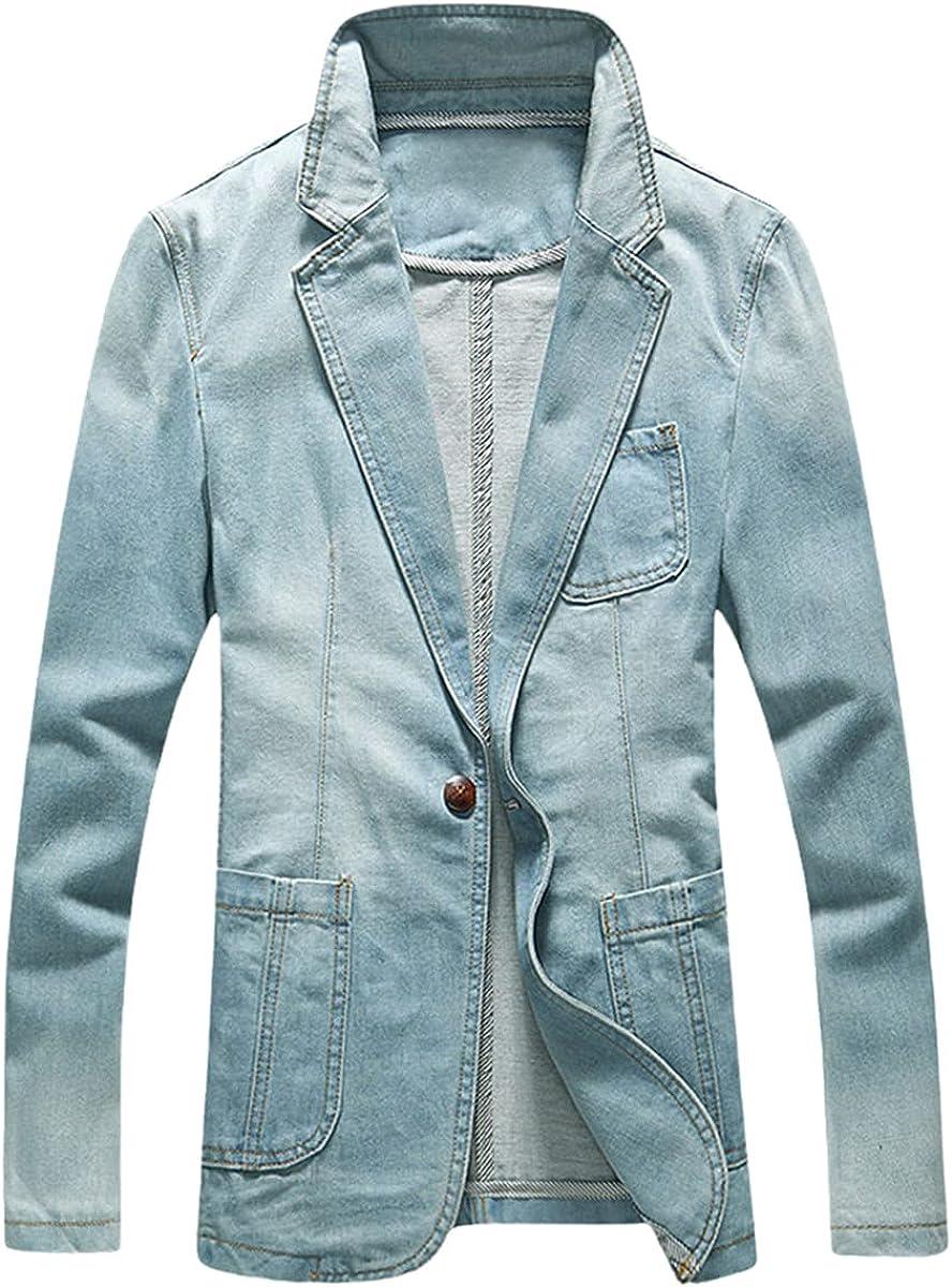 DFLYHLH Men's Slim Denim Jacket Suit Men's Spring Fashion Suit Jacket Trend Casual Denim Jacket