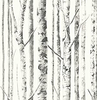 Wunsch Birch White Peel and Stick Wallpaper Black Trees Pearly Finish Background Self Adhesive Removable Adjustable Vinyl DIY 30.75 Feet