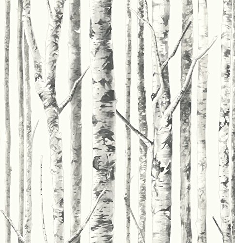Tree White Peel and Stick Wallpaper Black Trees Pearly Finish Background Self Adhesive Removable Adjustable Vinyl DIY 30.75 Feet