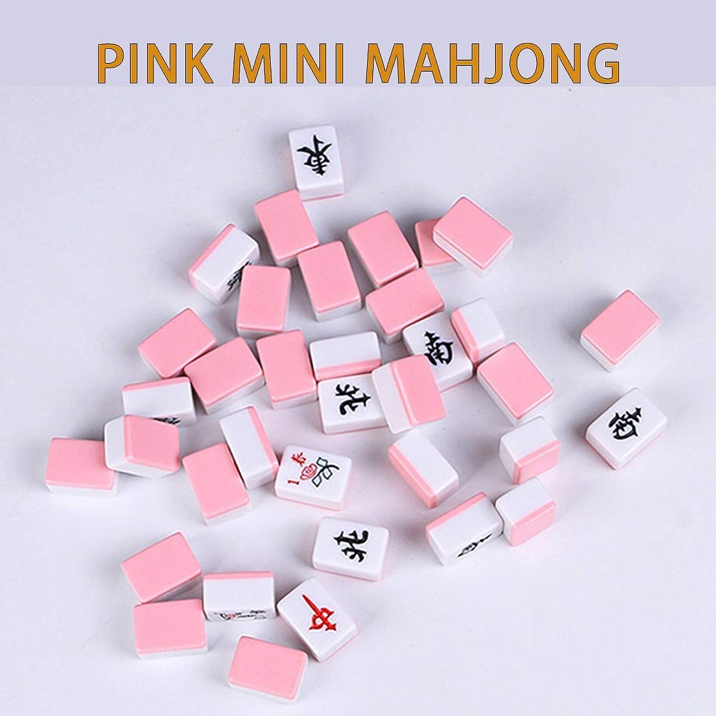 Hexiansheng Mini Set Portatili Mahjong 144 con Tavolo Mahjong Gioco di intrattenimento Tradizionale Cinese per Unisex ( Coloree   A )