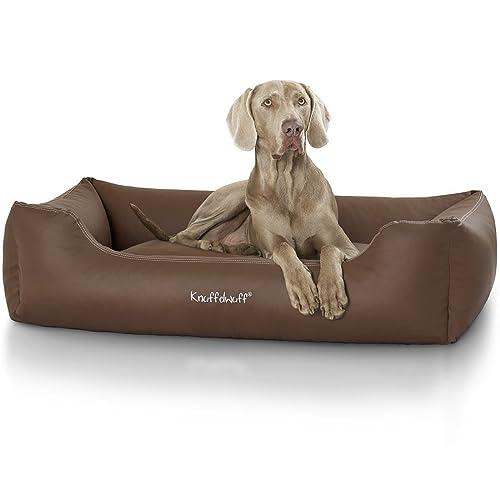 Knuffelwuff panier chien, lit pour chien, coussin, corbeille pour chien Sidney, en cuir, marron grande taille XXXL 155cm x 105cm