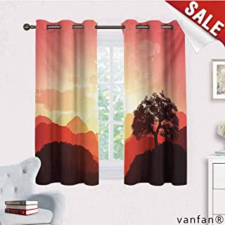 Big datastore Pattern DIY Available Curtain,Mystic,Magical Oriental Sunset View with Tree and Mountains Mystique Hills,with Solid Grommet Top Coral Orange Dark Brown,W55 Xl72