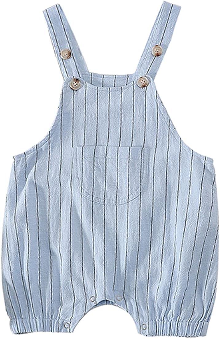 DINGDONG'S CLOSET Baby Toddler Boy Girl Cotton Pocket Striped Shortall Jean Short Overalls