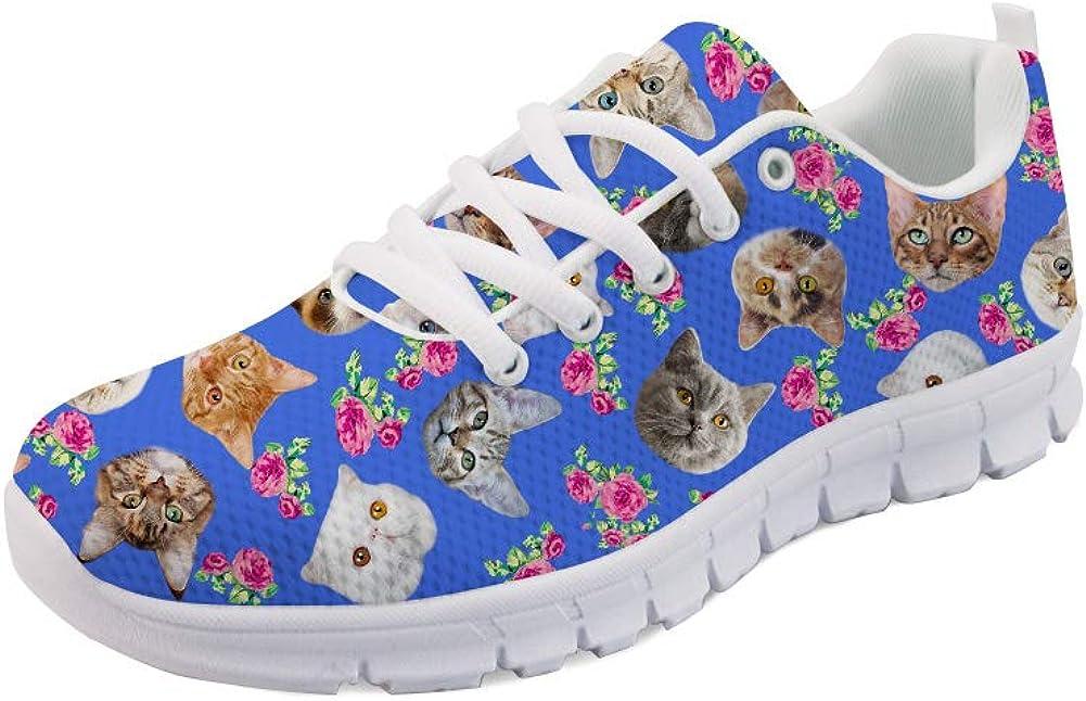 HUGS IDEA Animal Cat Flower Print Running Jogging Shoes Women's
