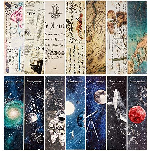 60 Piezas Marcadores de Libro de Itinerancia Espacial Marcapaginas de Estilo Vintage Cartón Retro Marcadores de Libro de Itinerancia para Oficina Estudiantes (Estilo Conjunto 2)