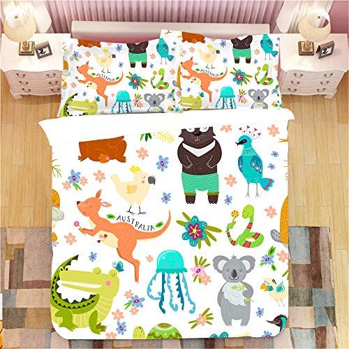 JOEYFAYE Children Cartoon Dinosaur Duvet Cover 220 * 240Cm, Microfiber Bed Ding Set With Pillowcase 50 * 75Cm, Zipper Closure. Cartoon Animals4