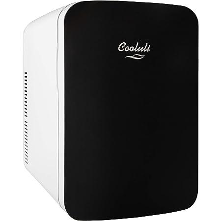 Cooluli 15L Mini Fridge for Bedroom - Car, Office Desk & College Dorm Room - 12v Portable Cooler & Warmer for Food, Drinks, Skincare, Beauty & Makeup - AC/DC Small Refrigerator with Glass Front, Black