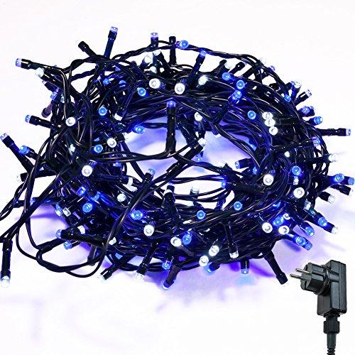 Lichterkette WISD Zwei Farben 23M 400 LED Beleuchtung für Innen und Außen mit EU Stecker von 31V Transformator auf Dunkelgrün Kabel für Weihnachten Garten Zuhause Hochzeit Deko (Blau+Weiß)
