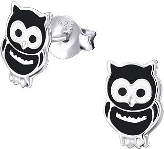 Hypoallergenic Owl Chick Black Sterling Silver Stud Earrings for Girls Children by Kate Benson