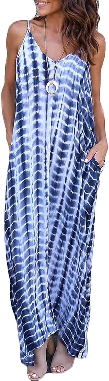 FLORHO Women's Tie Dye Summer Beach Dress Casual Spaghetti Strap Maxi Dress Sleeveless Sling Midi Dress