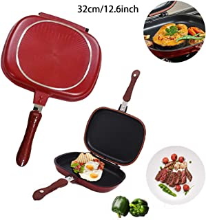 Double-sided Portable BBQ Grill Pan Nonstick Double Side Omelette Pan Flip Pan Aluminum Alloy Omelette Pan Frying Pan Square Pan Grill Cookware for Indoor and Outdoor Cooked Chicken 32cm