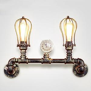 NIUYAO Lampe Applique Murale Laiton Antique 2 Lumières Style Cage Tuyau Eclairage Intérieur Wall Light Rétro Industrielle Lampe Mur