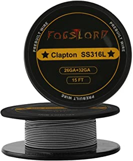 FogsLord Clapton Wire SS316L Heat Resistance Wire Spool Braided Electronic Coil 15 ft. AWG 26GA+32GA