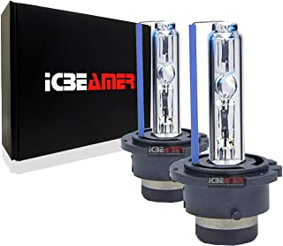 ICBEAMER 8000K D2S D2C D2R Xenon Factory HID Replacement Direct Plugin OEM Headlight Low Beam Color Light Blue Bulb