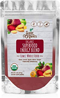 Super Organics Superfood Energy Blend | Beet, Cacao, Apple, Maca, Ginger & More | Organic Superfood Powder | Raw Superfoods | Whole Food Supplement – Vegan, Gluten-Free & Non-GMO, 8 oz