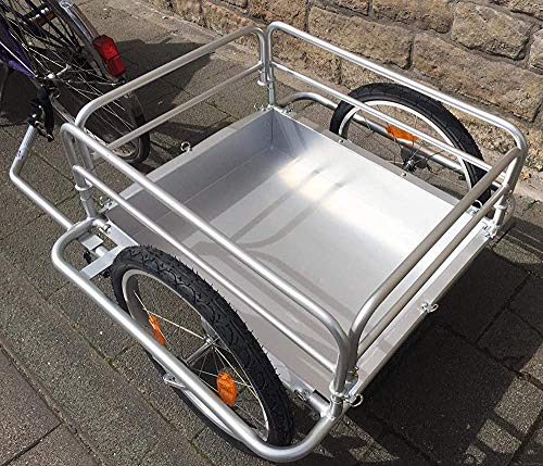 Bicycle Trailer, Foldable Framework Aluminum Frame, Safety Drawbar, Equipped with a Rotary Connector,Silver