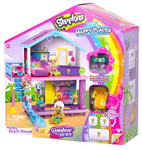 Shopkins Happy Places Rainbow Beach House Playset - Includes House Plus 5 Petkin Accessories & Palm Tree | Compatible with All Happy Places Sets | Dollhouse Getaway , Pink