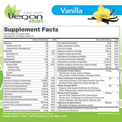 Vegansmart Plant Based Vegan Protein Powder by Naturade, All-in-One Nutritional Shake - Vanilla (15 Servings)